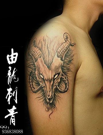 > 上海纹身由龙刺青作品手臂羊头纹身      羊在中国有着美好的寓意