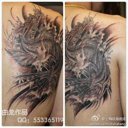 上海纹身由龙作品鳌鱼纹身