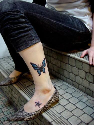 女生小腿纹身图案图片